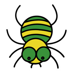 Cute spider cartoon illustration isolated on white background for children color book