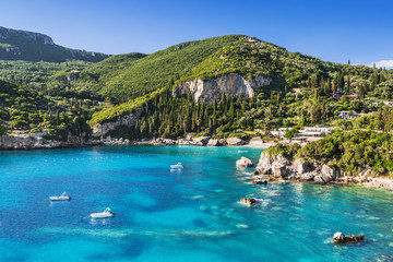 Beautiful bay near Paleokastritsa village, Corfu island, Greece