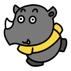 Rhino cartoon illustration isolated on white background for children color book