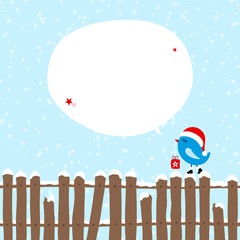 Blue Bird With Gift On Fence Christmas Speech Bubble Blue