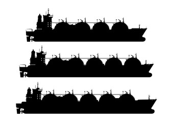 LNG carrier. Silhouette of a tank ship. A set of three tanker. Side view. Flat vector.