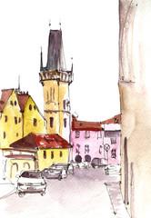 watercolor sketch of city street