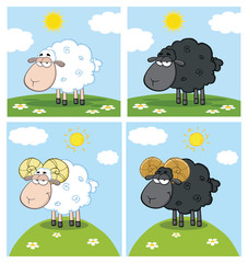 Sheep Cartoon Mascot Character Set 2. Vector Collection Isolated On White Background
