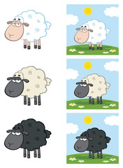 Sheep Cartoon Mascot Character Set 3. Vector Collection Isolated On White Background