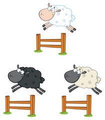 Sheep Cartoon Mascot Character Set 5. Vector Collection Isolated On White Background