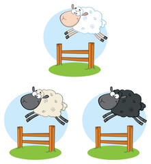 Sheep Cartoon Mascot Character Set 6. Vector Collection Isolated On White Background