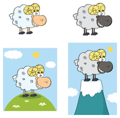 Sheep Cartoon Mascot Character Set 9. Vector Collection Isolated On White Background
