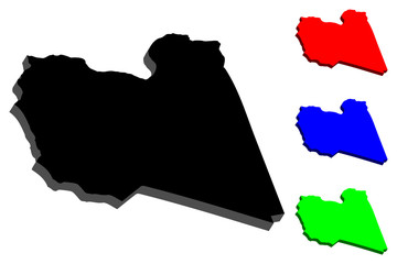3D map of Libya (State of Libya) - black, red, blue and green - vector illustration