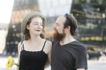 Portrait of a smiling couple in the city