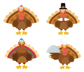 Thanksgiving Turkey Bird Cartoon Mascot Character Set 1. Vector Collection Isolated On White Background