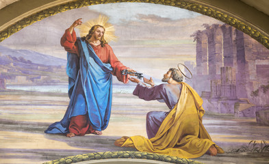Wall Mural - MODENA, ITALY - APRIL 14, 2018: The fresco Jesus consigning the keys to Peter  in church Chiesa di San Pietro by Carlo Goldoni (1822-1874) and Ferdinando Man