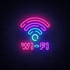 Wifi neon sign vector. Wifi symbol neon glowing letters shining, Light Banner, neon text. Vector illustration. Billboard