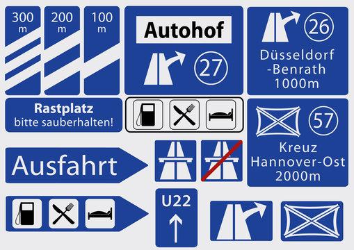 deutsche Autobahnschilder, Sammlung, Vektorgrafik eps 10