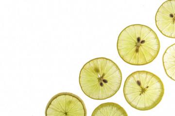 Flat lay Slice of lemon  isolated on a white background