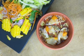 Mango salad with egg blue crab