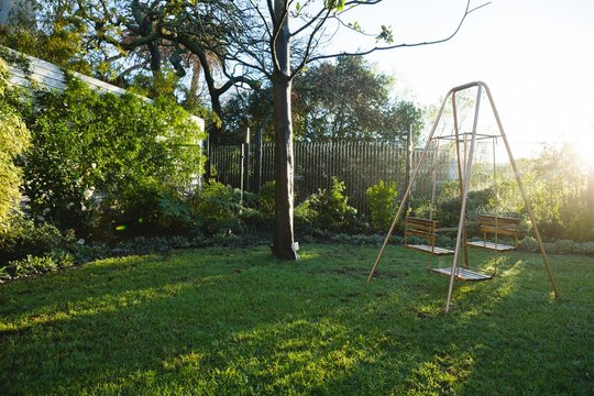 Empty swing in garden on sunny day