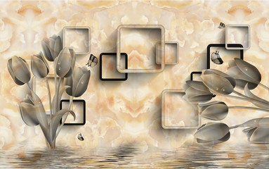 Marble floral rectangular background.