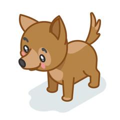 Dog cub isometric 3d cute puppy baby animal cartoon flat design icon character vector illustration