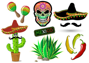 Set of Mexican elements: cactus, sombrero, agave, maracas, skull, hot pepper. Vector illustration.
