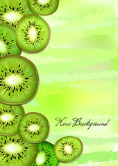 Kiwi slices on green vertical pastel background. Vector illustration.