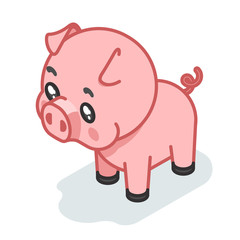 Pig cub isometric 3d cute swine baby animal cartoon flat design icon character vector illustration