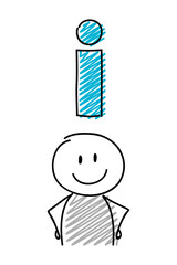 Stickman with smiley facial expression holiding information sign. Vector.