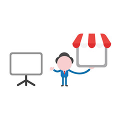 Vector businessman character with blank presentation chart and holding shop store