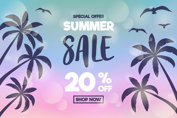 Summer Sale - concept of banner with tropical palms. Vector.