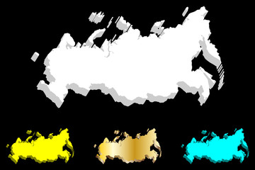 3D map of Russia (Russian Federation) - white, yellow, blue and gold - vector illustration