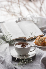 Cup of tea with open book and and white flower on a frosty winter day window background. Winter concept