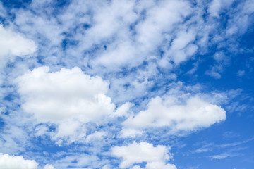 white heap cloud fly by wind blue sky background