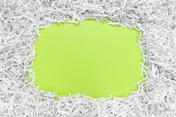 Frame with copy space made of recycled shredded paper