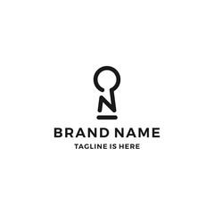n letter keyhole logo icon