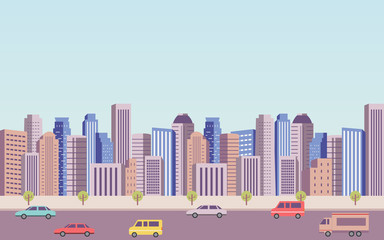 flat icon design of downtown city landscape and car on road under blue sky background