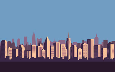 flat icon design of city skyline, Cityscape with blue sky background