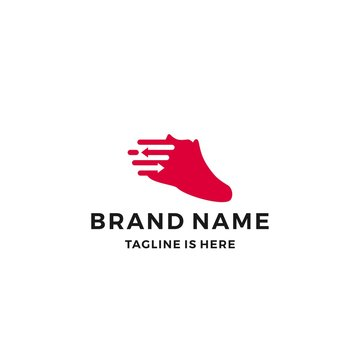 shoe sneaker logo shoes trade arrow vector fast delivery icon vector