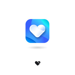 Heart, UI icon. Love, Valentine's Day icon. Medical, health, cardiogram emblem. Rounded square symbol with shadow on a white background. Web button.