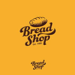 Bakery logo. Fresh bread and pastry emblem. Letters and bread vintage logo. Vintage gold sign. Monochrome option.