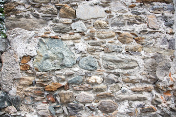 Medieval wall texture, brick plaster for background use.