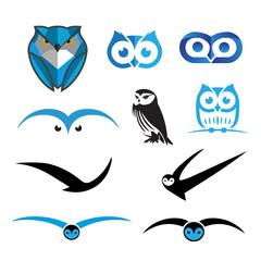 Set of Owl Logos