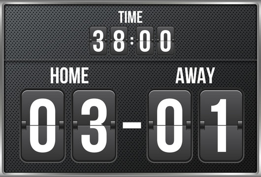 Creative vector illustration of soccer, football mechanical scoreboard isolated on transparent background. Art design retro vintage countdown with time, result display. Concept graphic sport element