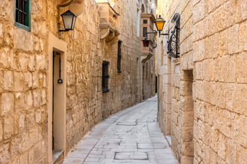Spoed Foto op Canvas Smal steegje beautiful view of ancient narrow medieval street town Mdina, Malta