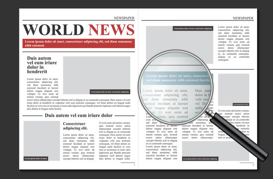 Creative vector illustration of daily newspaper journal, business promotional news isolated on transparent background. Art design mockup template. Abstract concept graphic typographic print element