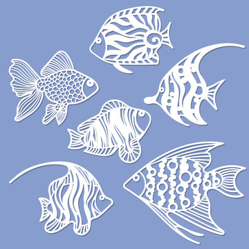 Set of fish for laser cutting. Suitable for cutting from paper, wood metal. For the design of postcards, menus and interior details.
