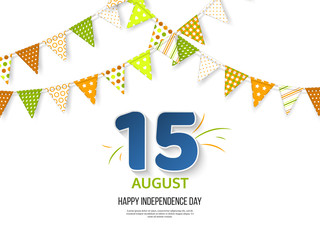 Indian Independence day holiday design. 3d numbers 15 in blue color with bunting flags in traditional tricolor of indian flag. White background. Vector illustration.