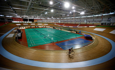 General view shows the velodrome, which will host the 2nd European Games 2019 in Minsk