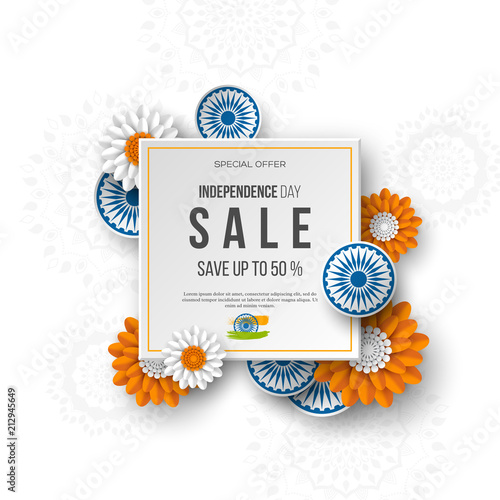 Indian independence day sale banner 3d wheels with flowers in indian independence day sale banner 3d wheels with flowers in traditional tricolor of indian flag mightylinksfo