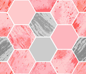 Abstract geometric seamless pattern on white background. Watercolor hexagon with stain, spray, splash and spot on paper textures, minimal elements. Vector illustration in pink and gray color.