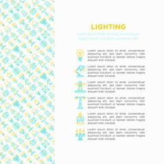 Lighting concept with thin line icons: bulb, LED, CFL, candle, table lamp, sunlight, spotlight, flash, candelabrum, bonfire, menorah, night aroma lamp. Vector illustration, print media template.