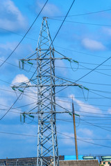 close-up of the power line
